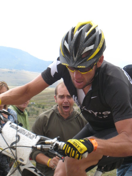 Rock Climbing Photo: Lance with psycho fan in the background.  Lance wa...