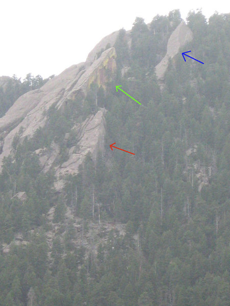 Rock Climbing Photo: Red Arrow - Last Flatironette Green Arrow  - Green...