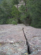 Rock Climbing Photo: Looking down the fun splitter crack on the left si...