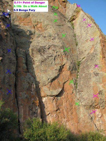 Rock Climbing Photo: Point of Danger is the far right route in this pho...