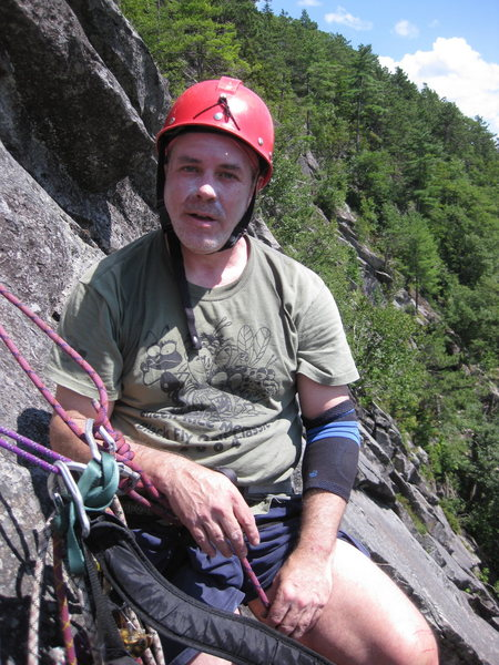 Myself at the second pitch belay. Photographer Ryan Barber.