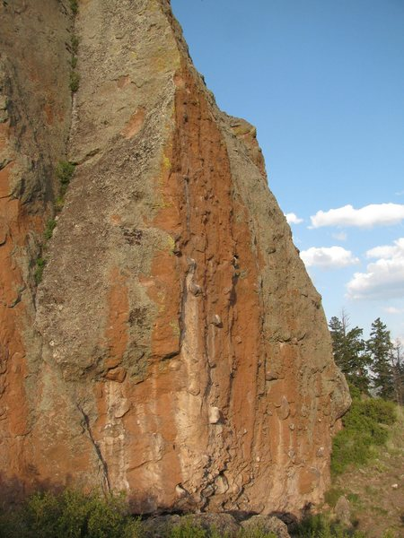 This is the main wall with all the overhung climbs.