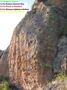 Rock Climbing Photo: Bubba's Weenie Way is the 2nd bolted line from the...