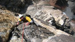 Rock Climbing Photo: Following on the Black Face pitch.