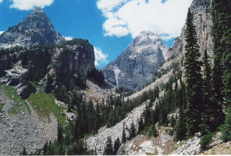 Just a nice picture of Nez Perce (left) and the Middle Teton from the trail in Garnet Canyon.  July of 2005