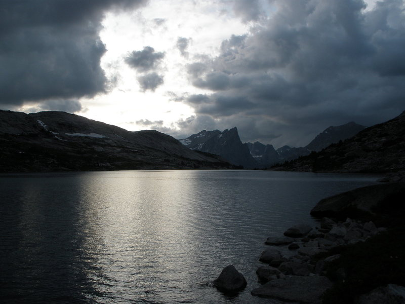 Rock Climbing Photo: Deep lake at dusk, Cirque in Background