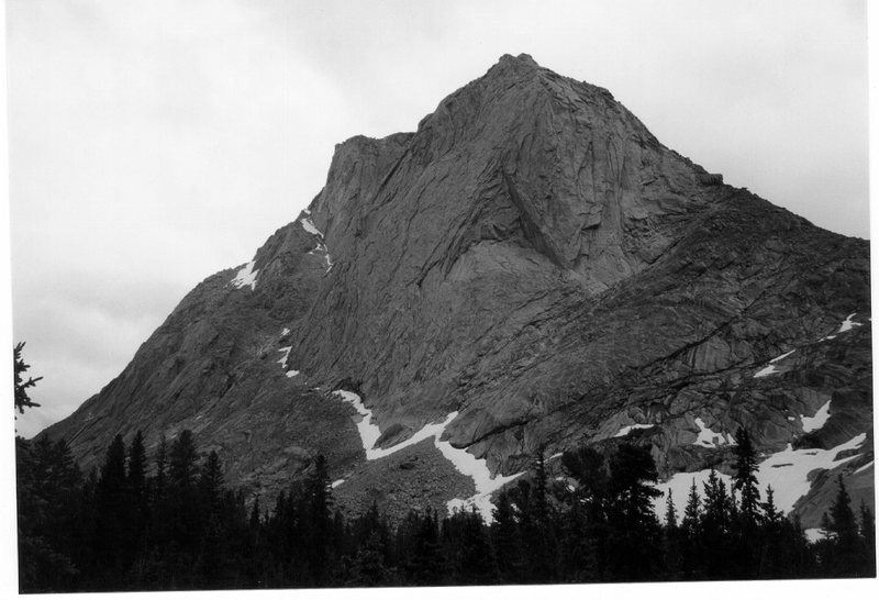 Mt. Mitchell from camp in the cirque in black and white and showing a bit of route detail.
