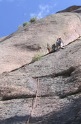 Rock Climbing Photo: The lieback, jamming option for pitch one, easy 5....