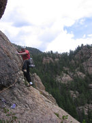 Rock Climbing Photo: Chuck Graves steps up onto the slab. This start is...