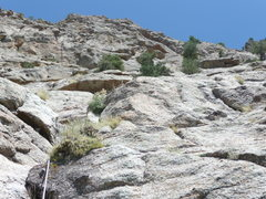 Rock Climbing Photo: Looking up the start of Pitch 3 which ends at the ...