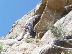 Rock Climbing Photo: Dean Keuthe striking out on Pitch 5.