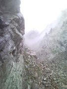 Rock Climbing Photo: looking up before all hell breaks loose