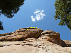 Rock Climbing Photo: The yellow dots show (most of) the route.