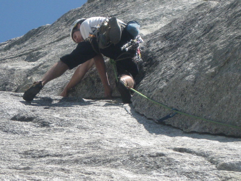 Rock Climbing Photo: focusing on the feet... mid-crux on El Camino Real...