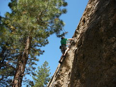 Rock Climbing Photo: Midway on the juggy lower section of Bodhisattva.
