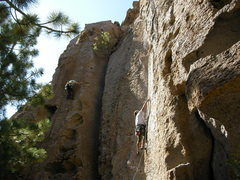 Rock Climbing Photo: Kelly clipping the second bolt of Borrowing From T...