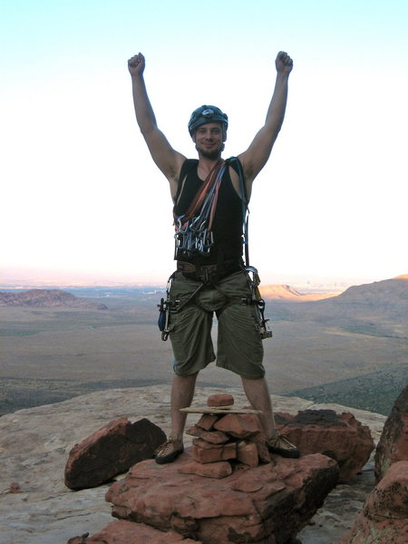 Rock Climbing Photo: Triumphant I stand at the summit!