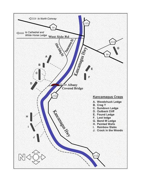 Rock Climbing Photo: Map of Kancamagus Crags