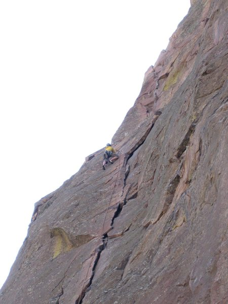 High up on P1 approaching the belay ledge.<br> <br> Photo by Matt Lanning.
