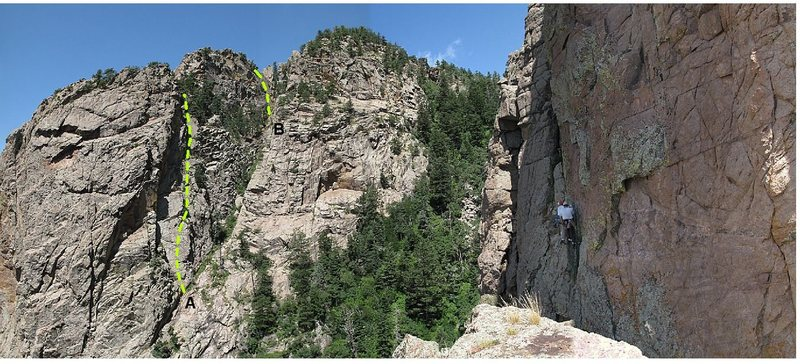 The west side of Echo Canyon, featuring the Ramp (A) and 606 on the Rudder (B), as seen from the top of Bush Shark. The unknown climbers are on Big T.