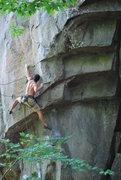 Rock Climbing Photo: Andrew pulls the roof on Romper Room.