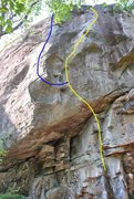 Rock Climbing Photo: Pastryworks follows the blue line, breaking off of...