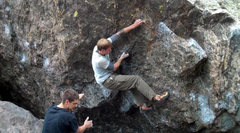 Rock Climbing Photo: The last crimpy gaston before the jug finish.