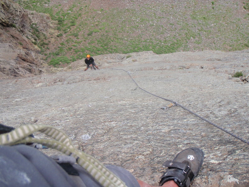 Rock Climbing Photo: Looking down at the second pitch.