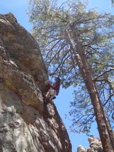 Rock Climbing Photo: Muscling through the crux.