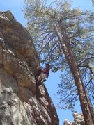 Rock Climbing Photo: Muscling through the crux.