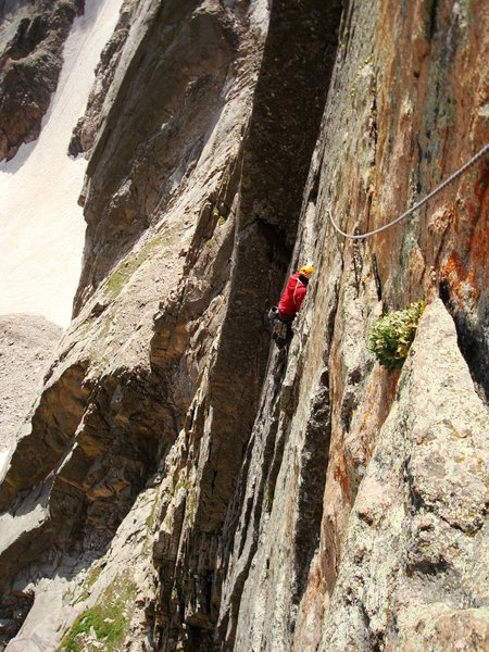 The traverse to the pedestal on pitch 2.