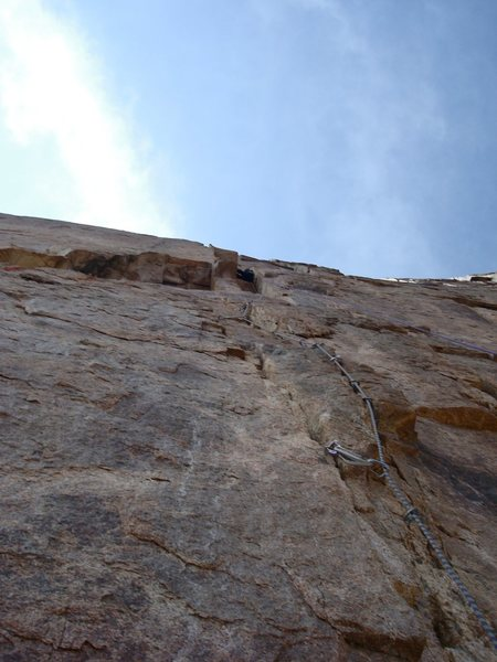 The 11d bypass around the Torture Chamber, which we aided since the rock was so poor. Both options had some kitty litter rock. Linking pitch 3 and 4. The fist crack through the roof and above was fun.