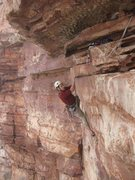 Rock Climbing Photo: Me traversing at the end of P3 about to get into t...