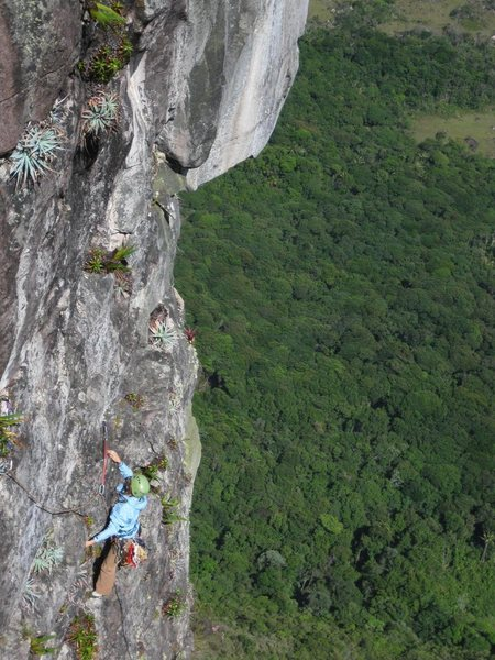 Meghan on Pitch 7 with Amazonian jungle way below her.