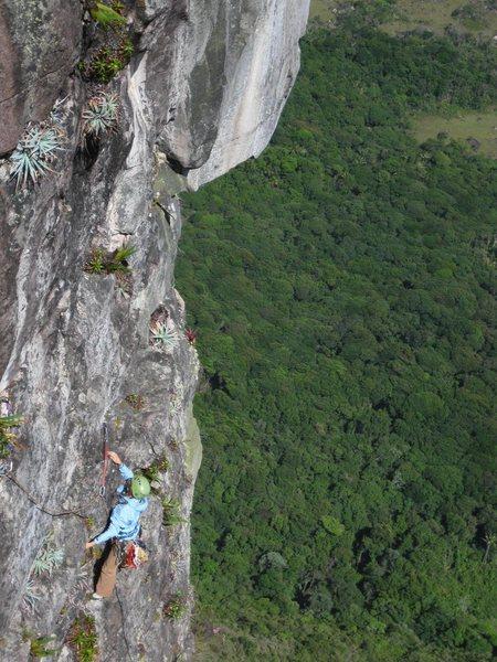 Rock Climbing Photo: Meghan on Pitch 7 with Amazonian jungle way below ...