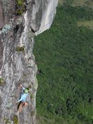 Rock Climbing Photo: Meghan on Pitch 7 with Amazonian jungle way below ...