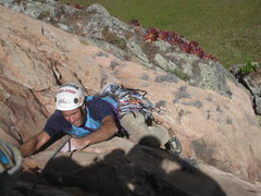 Rock Climbing Photo: Luis on the route's crux.  Nice overhanging 11c cr...
