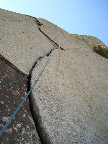 Rock Climbing Photo: Gear placements on the flakes.  Fun route!