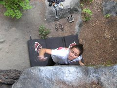 Rock Climbing Photo: leesha sending the dyno; pure determination...or h...