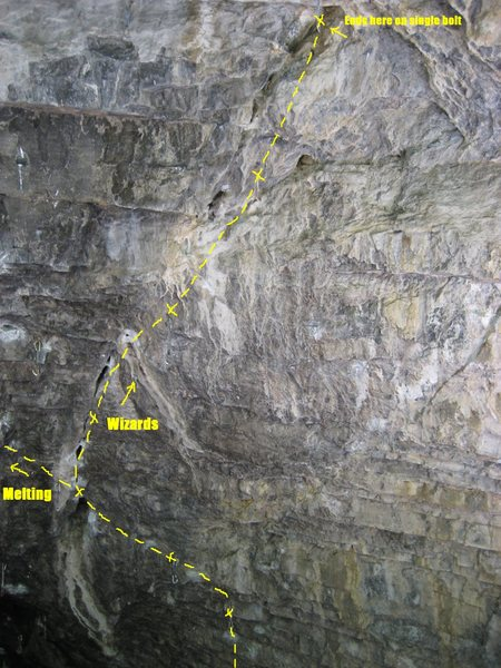 Rock Climbing Photo: This shows the shared start of Melting and Wizards...