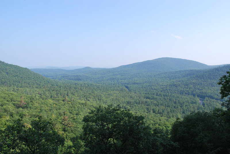 This is the view from Sundown's Alcohol Wall. The Kancamagus highway can barely be seen snaking through the White Mountain National Forest.