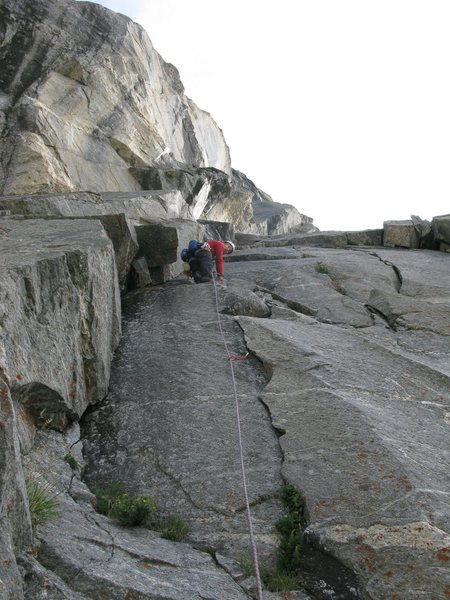 Rock Climbing Photo: Pitch 1 of SBR.  If you stay in the corner and don...