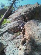 Rock Climbing Photo: Teague starting up Mr. Wong's Zipper before the bu...