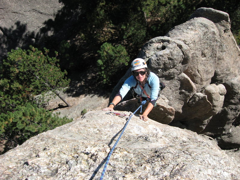Rock Climbing Photo: Lenore Sobota contemplating crux move just below t...