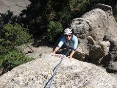 Rock Climbing Photo: Lenore Sobota contemplating crux move just below t...