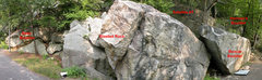 Rock Climbing Photo: A panoramic view of the Boxcar Area.  There's quit...