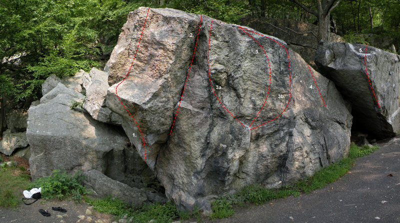 The Blasted Rock in the Boxcar Area: 1. Drifter's Escape (V2), 2. Blasted Rock Crack (V0), 3. Blasted Rock (V1), 3a. Blasted Rock Variation (V0), 3b. Blasted Rock Variation (V0), 4. Blasted Rock Slab (V0), 5. Boxcar Arete (V8)