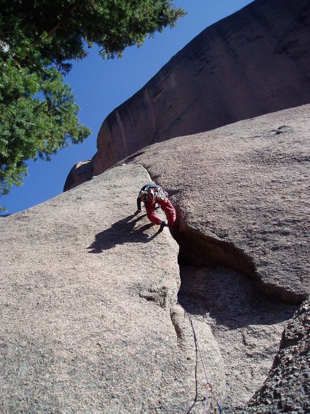 Rock Climbing Photo: Heel toeing in the strange slot. The rope runs int...