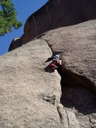 Rock Climbing Photo: You can squeeze through (maybe) from the inside to...