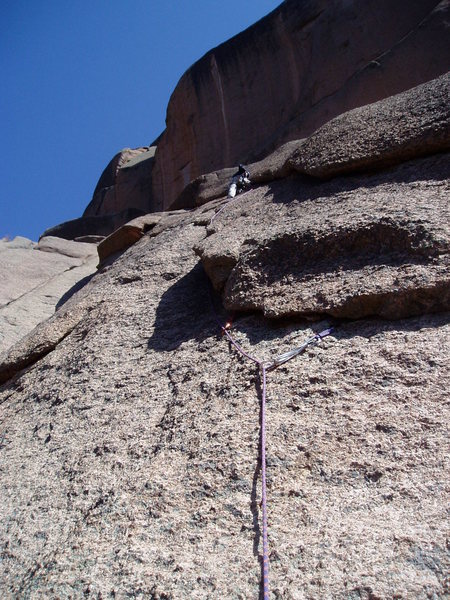 Rock Climbing Photo: Midway up this long second pitch you move right to...